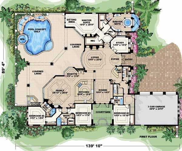 Italian Style House Plans 5841 Square Foot Home 2 Story 4 Bedroom And