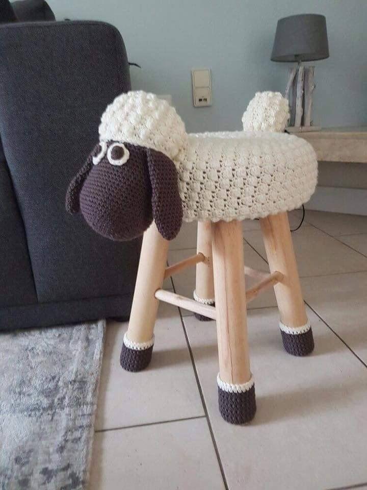 Crochet sheep stool cover  Crochet Home  Pinterest