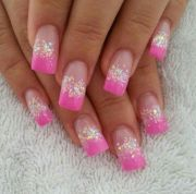 pink french tip nails. with glitter