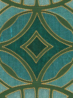 Geometric Teal Embroidered Upholstery Fabric Aqua Silk