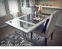 Metallic Silver Mirrored Desk / Table with Gold Legs ...