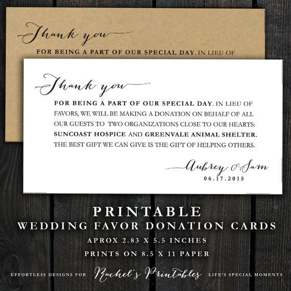 Printable Wedding Donation Favor Cards Wedding Thank You