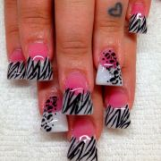 flared pink and white acrylic nails
