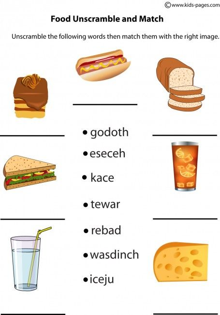 food worksheets  food unscramble worksheet food index