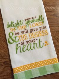 Kitchen Towel, Embroidered with Bible Verse, Linen, Bridal ...
