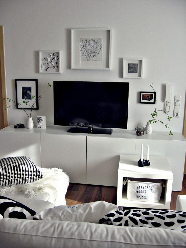 Wohnwand TVWand Besta ikea schwarz wei Bilderwand Wohnzimmer  my Home  Pinterest  Und