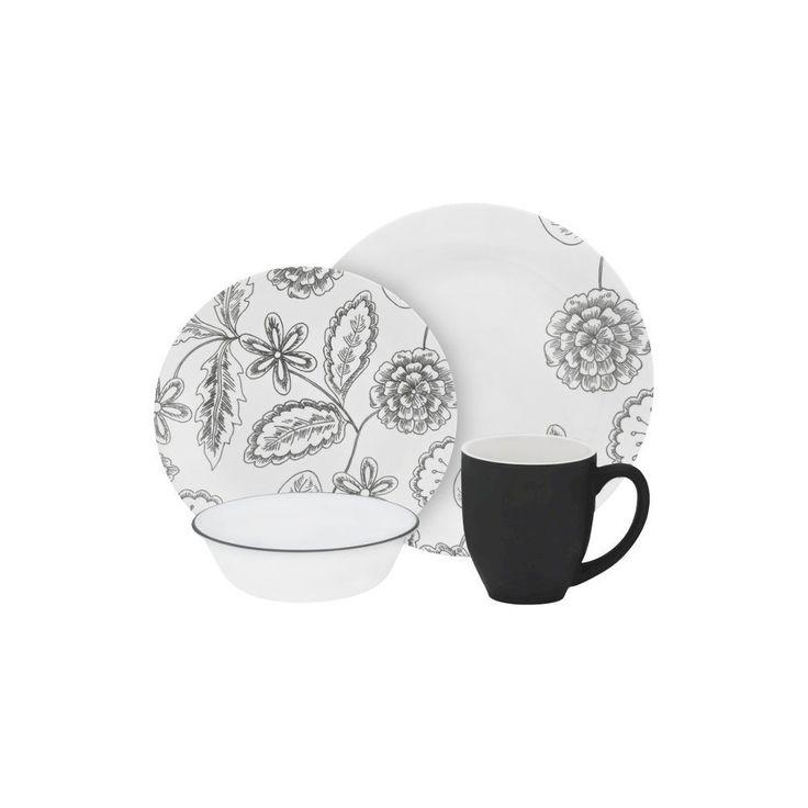 Corelle Dinnerware Set 16pc Black Floral, Dinnerware Sets