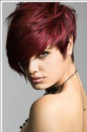 dark red pixie short hairstyles