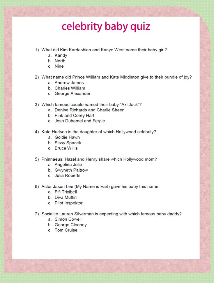 Baby Shower Questions : shower, questions, Shower, Trivia, Questions, Answers