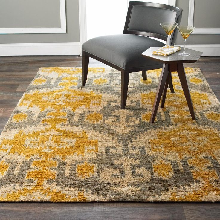 yellow and gray rug for living room wall color design ideas gold ikat jute brush cut | cut, pewter ...