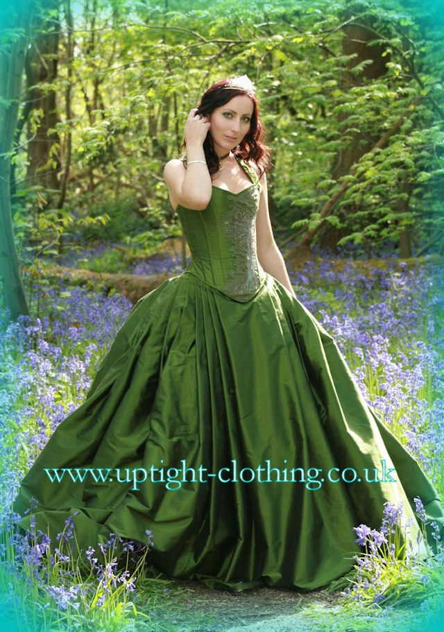 woodland forest green hourglass corset wedding dress with a full ball gown bustl