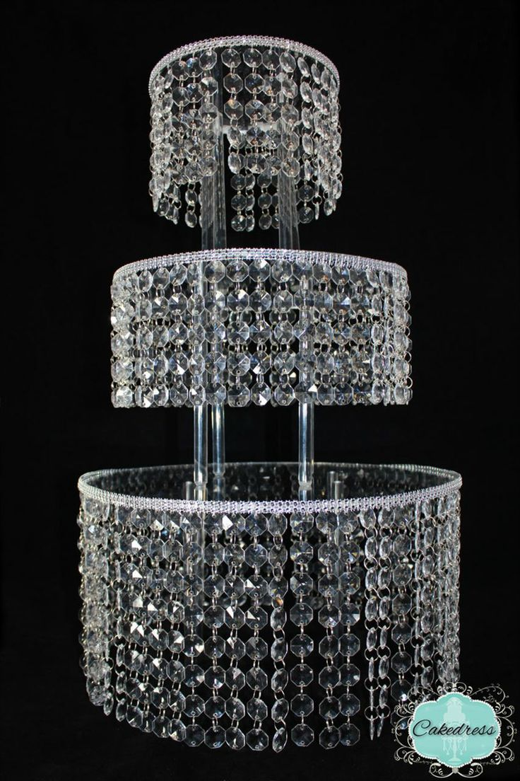 3 Tier Round Crystal Wedding Cake Stand Adveristements