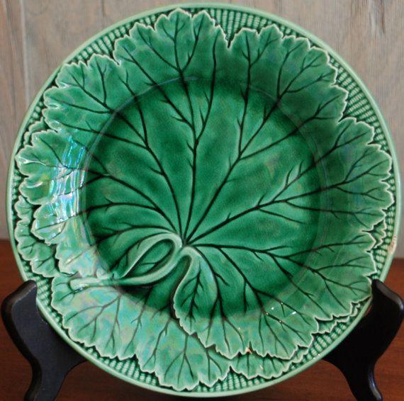 Antique English Wedgewood Majolica Leaf Plate  Glass