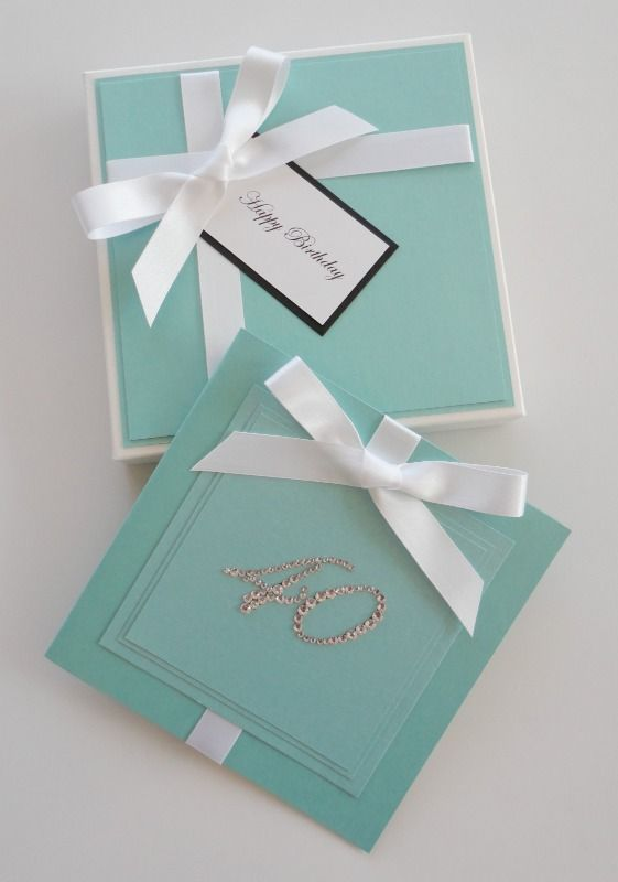 Boxed Birthday Card inspired by Tiffany  Co just change the number according to the birthday