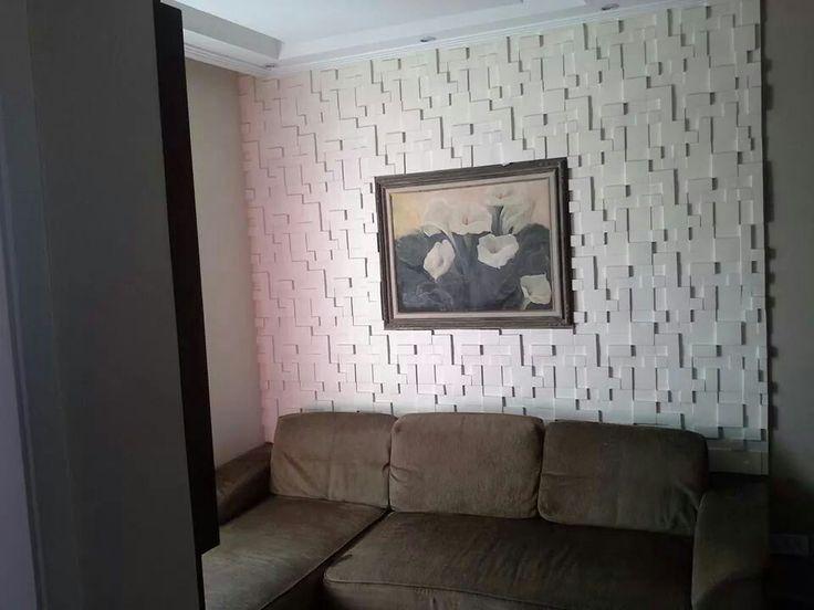 wall decor for living room philippines black and off white ideas parede com placa de gesso em mosaico | sala tv pinterest ...