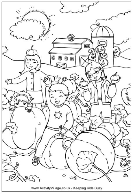 Pumpkin patch coloring page, children playing in a pumpkin