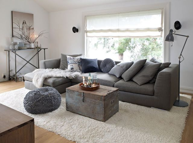 grey couch white rug  grey couch  Pinterest  Big rugs