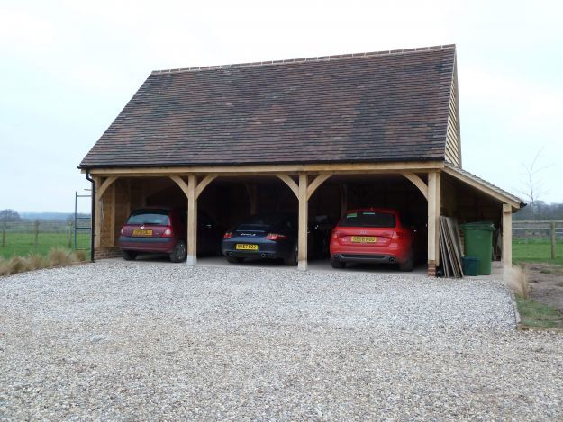 In Progress 3 Bay Garage With Logstore And Room Above Andrew Page Oak Ltd Quality Oak Framed