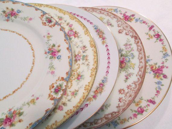 Vintage Mismatched China Dinner Plates