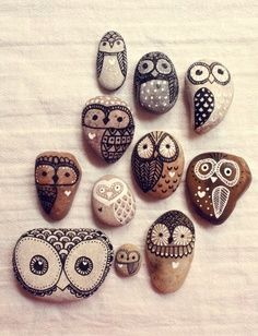 Hand Painted Rock Owl would be cool to glue them in a shadow box and hang on the