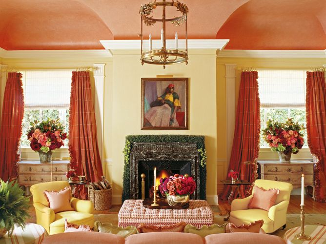 Walker Simmons living roomfringed coral curtains painted ceiling yellow walls  Tradition