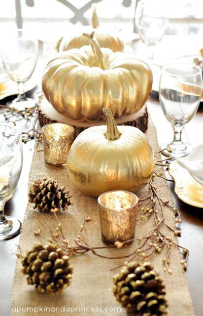 Golden pumpkin centerpieces for fall entertaining: