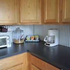 Inexpensive Kitchen Makeovers Wood Budget Update: Corrugated Steel Backsplash ...