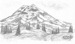 mountains mountain pencil sketch drawing scene simple drawings nature landscapes graphite nice sketches landscape trees painting shading ink cool