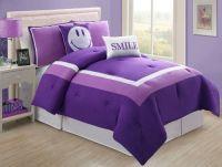 Modern Purple Twin Comforter Set for Girls - Purple ...