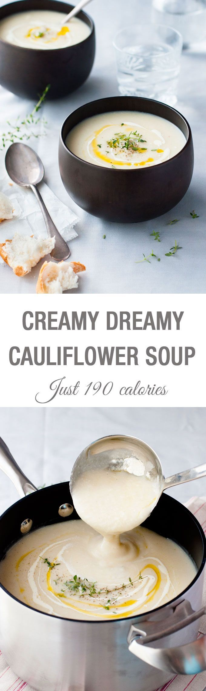 Creamy Dreamy Cauliflower Soup – just 190 calories for a BIG bowl, effortless to make and soooo creamy!