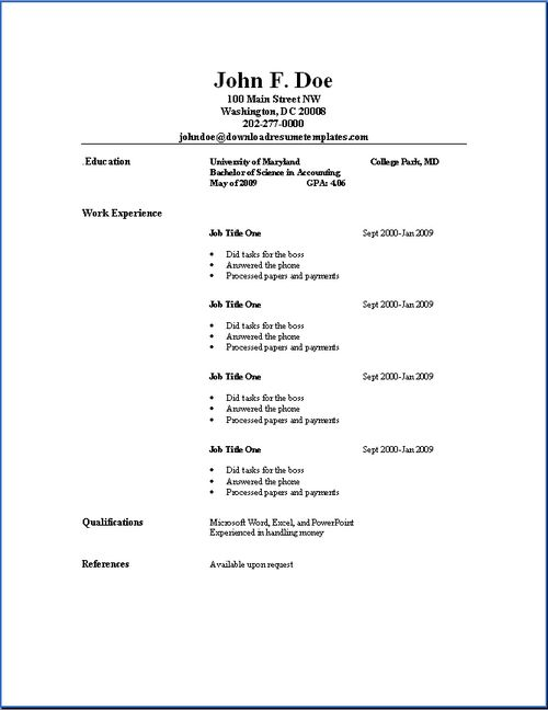 simple resumes examples - Examples Of Simple Resumes