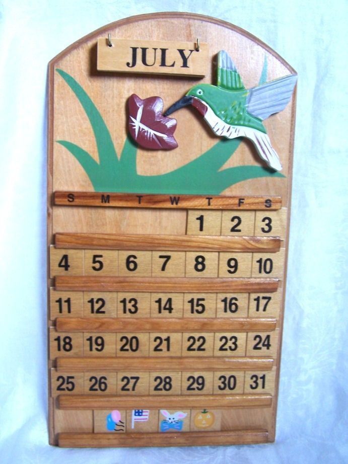 Vintage Wooden Perpetual Calendar Wall Hanging  Vintage