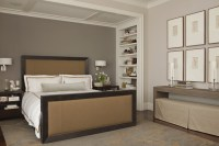 BM Revere Pewter and dark accent wall. Brown furniture ...