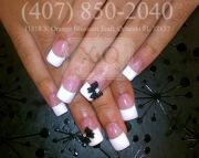 classic french tips with 3d bows
