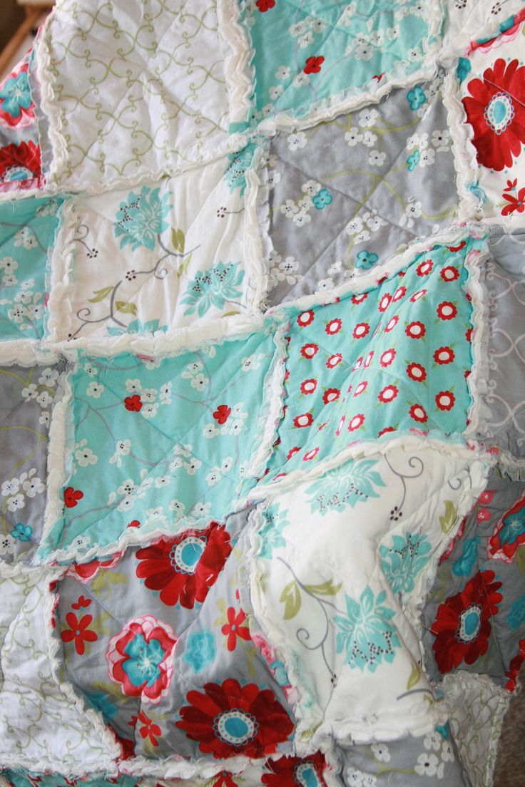 Crib Rag Quilt Baby Girl Crib Bedding Seaside Cottage Gray Teal Red Nursery Ready To Ship  Baby