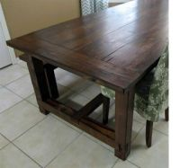 pine wood stained farmhouse table | The pine table is ...