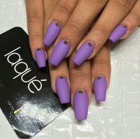 Laque Nail Bar | Matte Purple Square Tip Acrylic Nails w ...