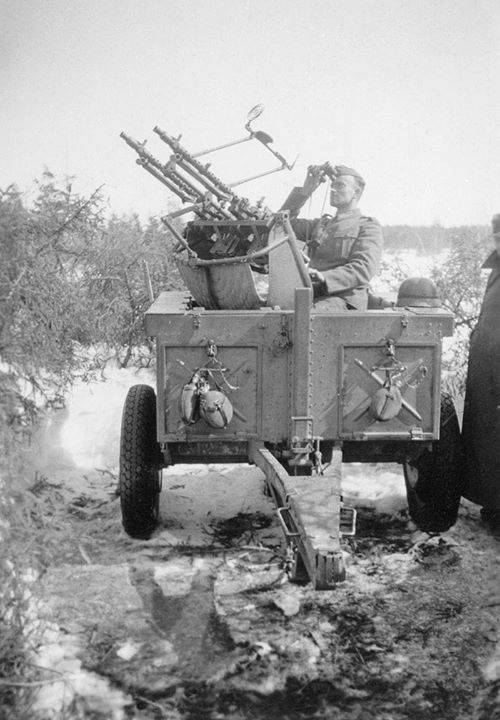 German Soldier With Mg34 Anti Aircraft Gun In Ww2 War