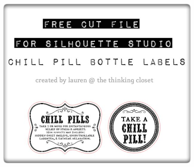 FREE Silhouette Studio Cut File for Chill Pill Bottle