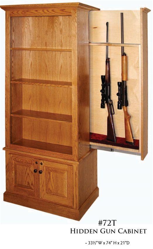 American Winchester Bookcase With Hidden Gun Safe Hidden