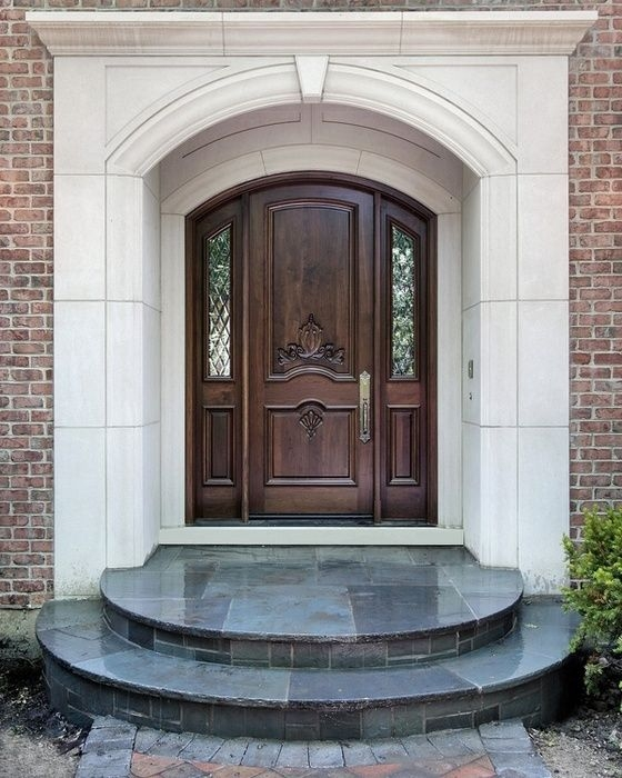 Modernentryexteriordoor Grand Entrances San Diegos Finest Custom   Home Front Stairs Design   Porch Attached Horizontal Staircase Tower   Parapet Wall   Sitout Step   Front Window   Interior