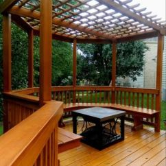 Hammock Chair With Canopy Jazzy Power Charger Porch Square Cedar Columns Stone Base | This Wood Pergola Is Installed Above An Octagon Deck ...
