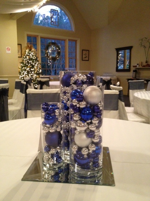 Blue and silver wedding centerpieces! Use Christmas tree