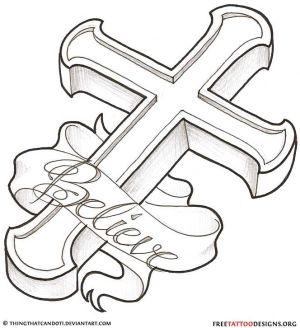 cross tattoos tattoo christian holy designs celtic tribal drawings easy drawing crosses bible line banner ribbon believe verse jesus break