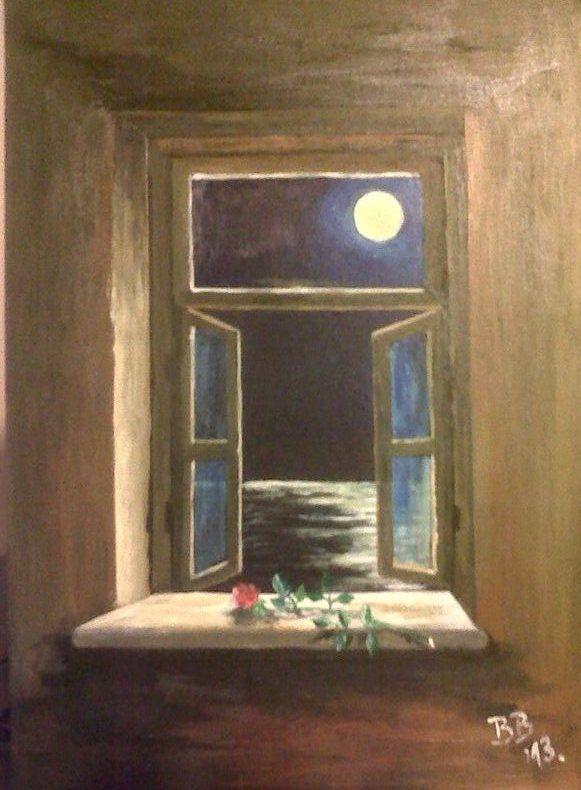 Looking through an open window full moon under the sea