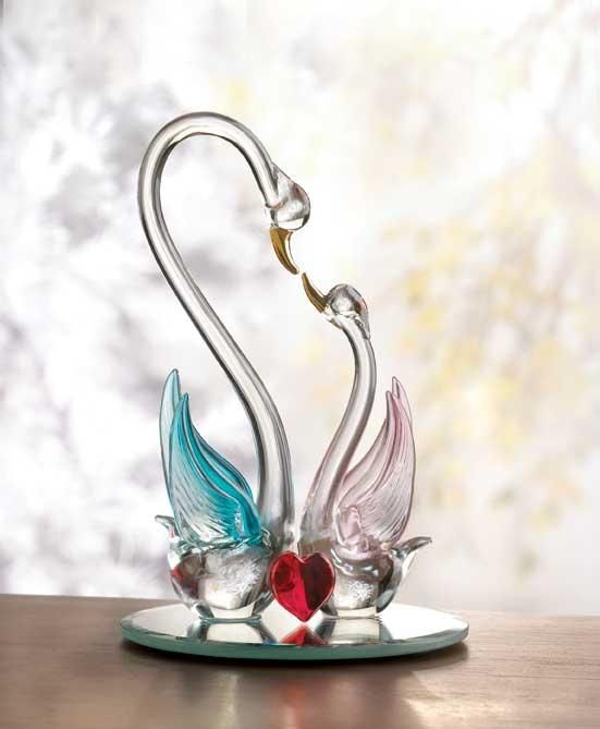 Spun Glass Figurines Swans Beautiful Glass And Crystal