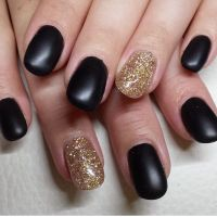 Matte black and gold nails   20's party   Pinterest   Gold ...