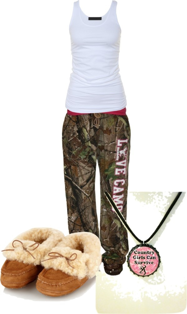 """9a9dfb08bc2 """"Pajamas"""" by camo-ammo-queen liked on Polyvore. I have the slippers, pretty  sur"""