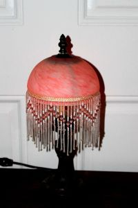 Antique Art Deco, BEADED marbled Glass Lamp Shade, circa
