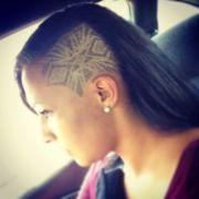 tribal design shaved head